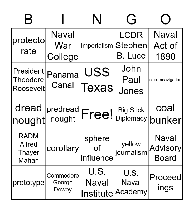 America's Rise to World Power Bingo Card