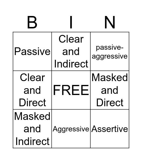 Communication Styles Bingo Card