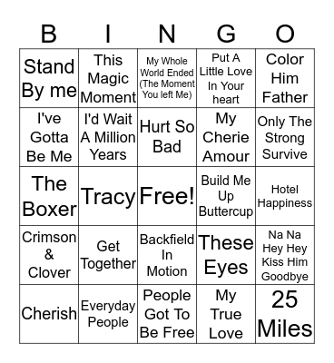 60s Hits Bingo Card