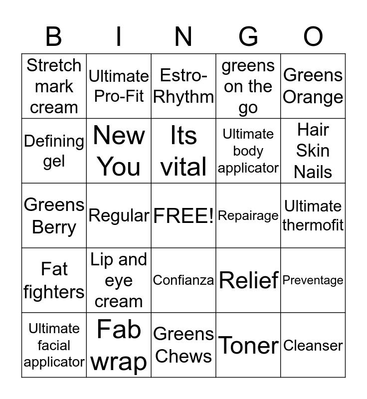 Skinny Wrap Bingo Card