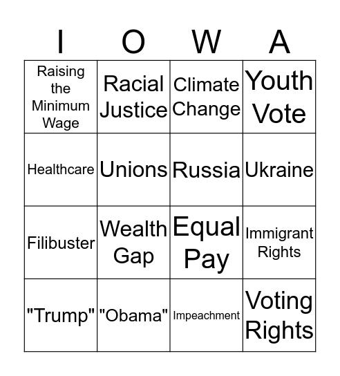 NextGen Iowa Debate Watch Party Bingo Card