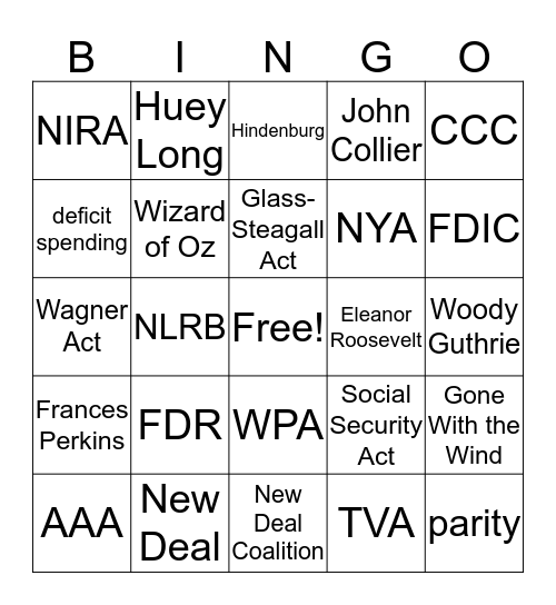 New Deal Bingo Card