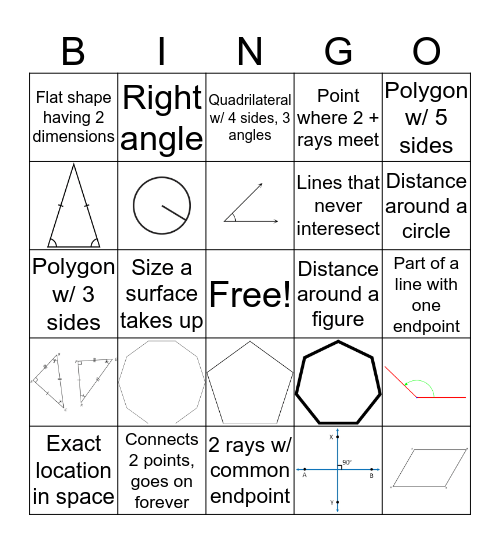 Geometry Vocabulary Bingo Card