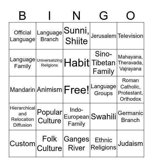 Unit 3 - Culture Bingo Card