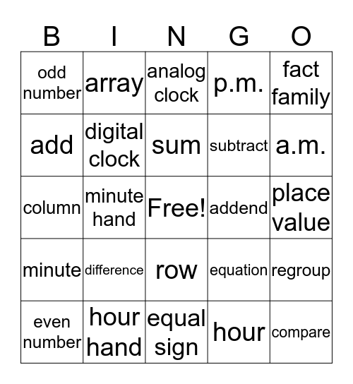 2nd Grade Math Vocabulary Bingo Card