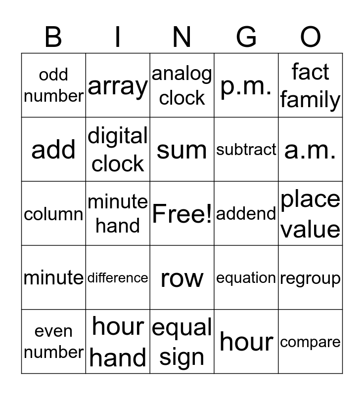 2nd Grade Math Vocabulary Bingo Card