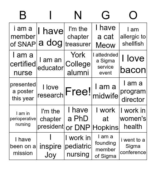 Sigma Bingo Card