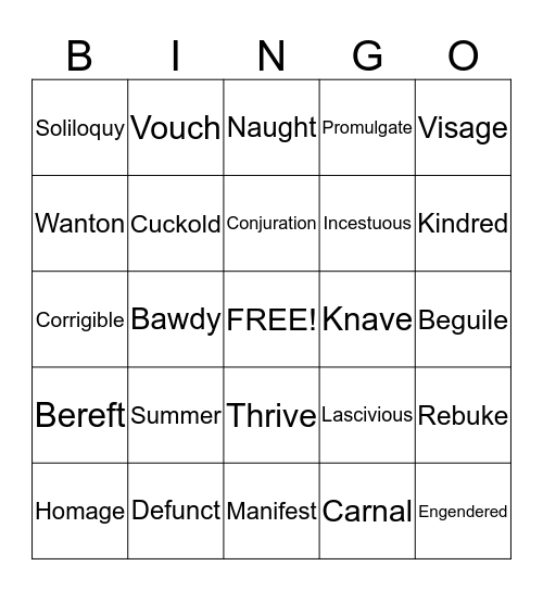 Shakespeare BINGO Card