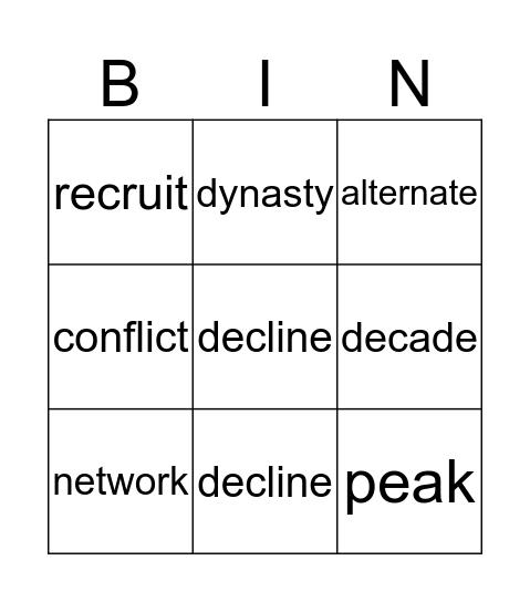Unit 6 Vocabulary Bingo Card