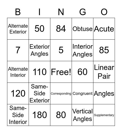 Parallel Lines & Transversals Bingo Card