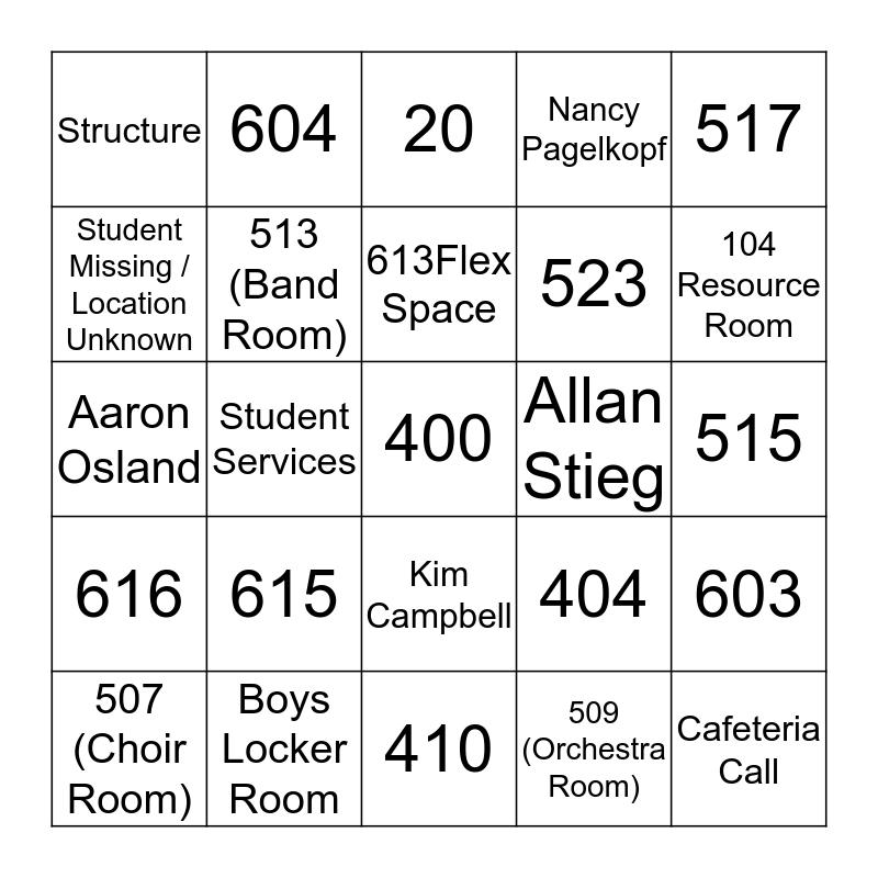 Push-In Bingo Card