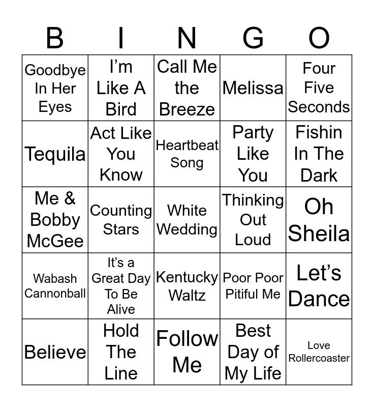 Music Bingo 37-12 Bingo Card