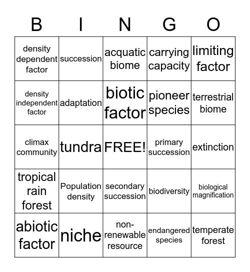 Interdependence  Bingo Card
