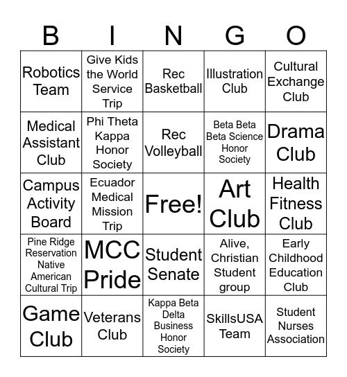 MCC Student Activity Bingo Card