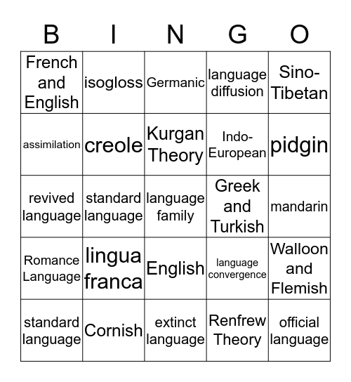 Language Bingo Card