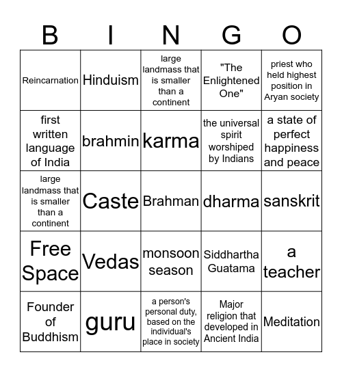Ancient India Bingo Card
