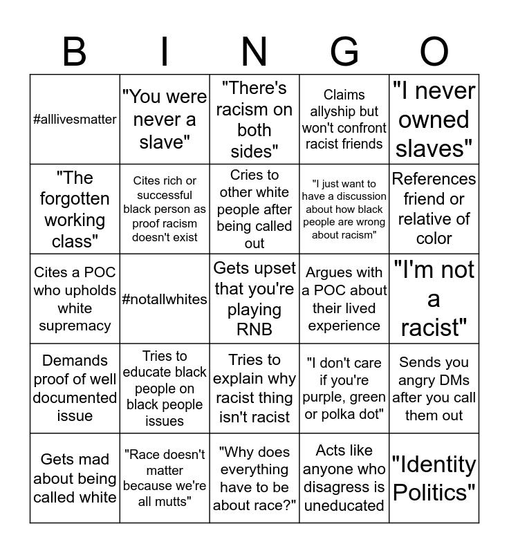 Racist Nonsense BINGO  Bingo Card