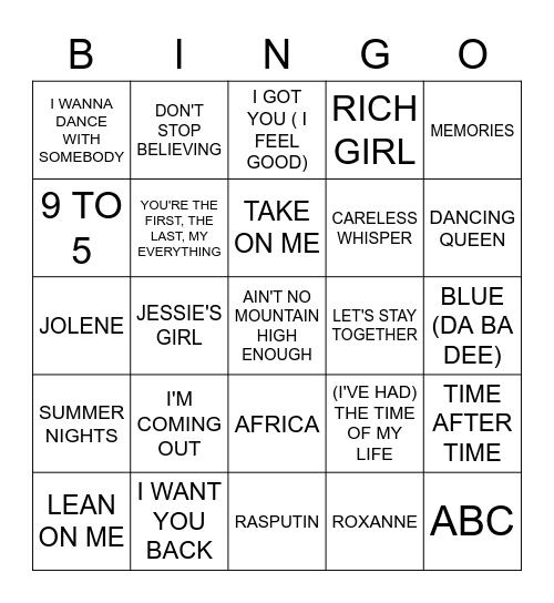 Can You Sing? Bingo Card