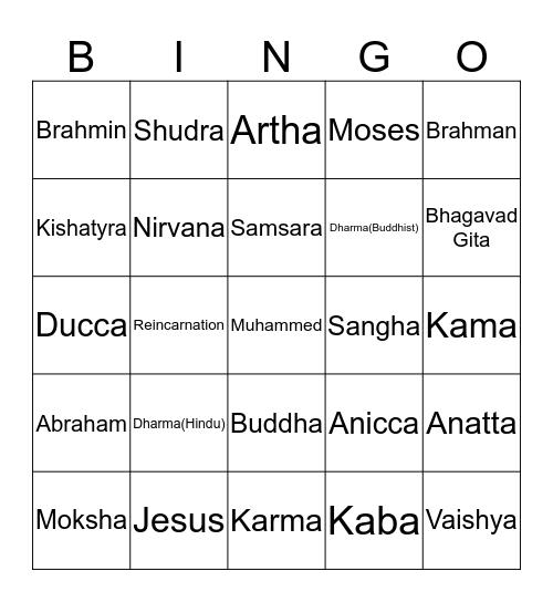 Eastern Religions Bingo Card
