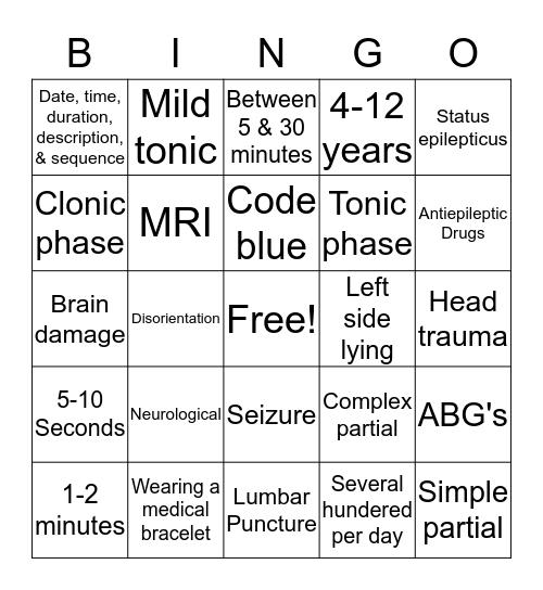 Seizure Precautions Bingo Card