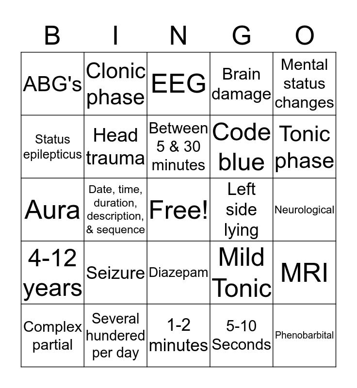 Seizure Precautions Bingo Card