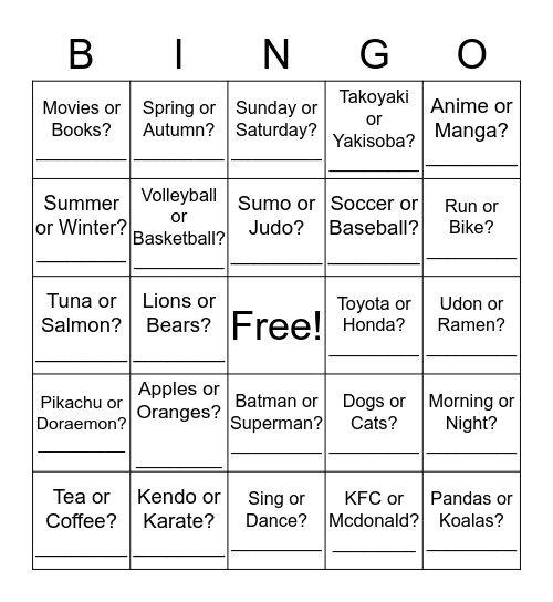 """Which do you like?"" Bingo Card"