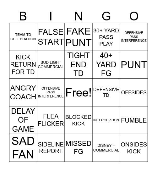 September 25, 2019. 2nd Half Bingo Card