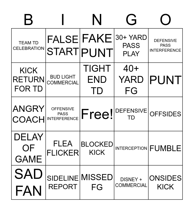 September 25, 2019. 2nd Half Bingo Card