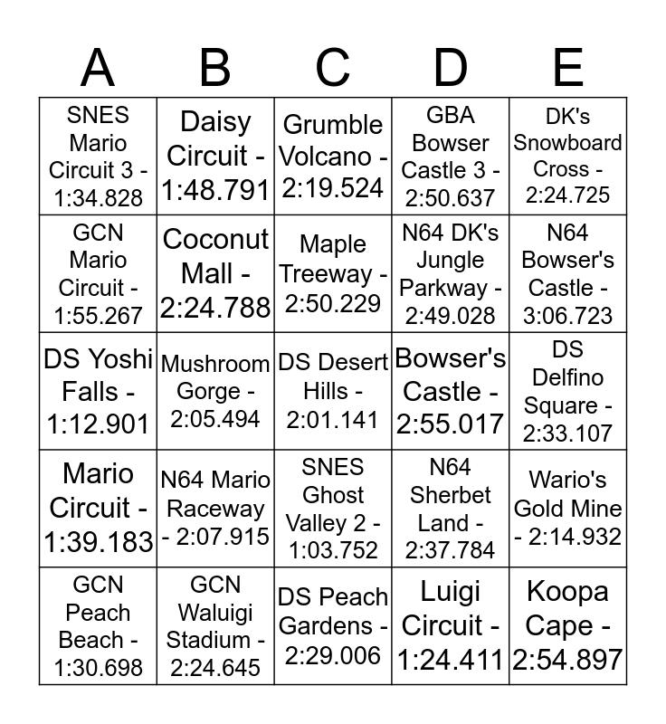 Mario Kart Wii Bingo Card