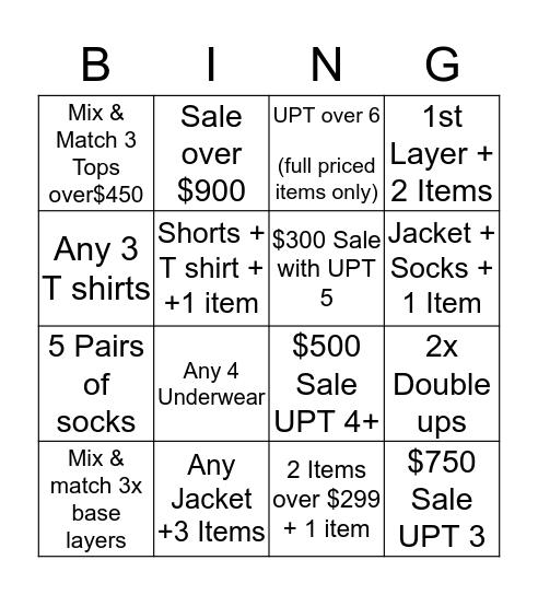 UPT challenge  Bingo Card