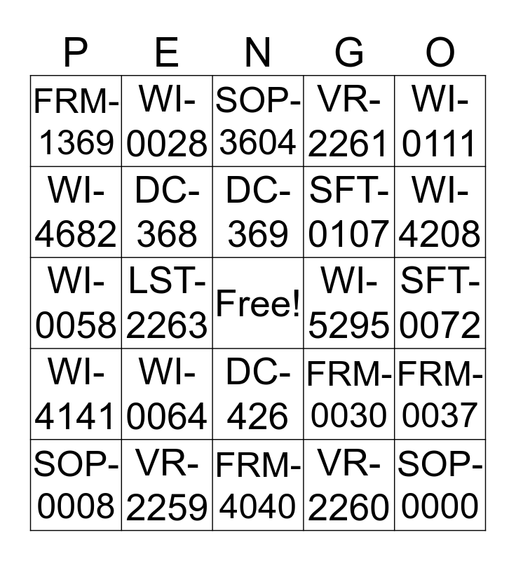 PENUMBRA Bingo Card
