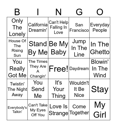 60's Hits Bingo Card