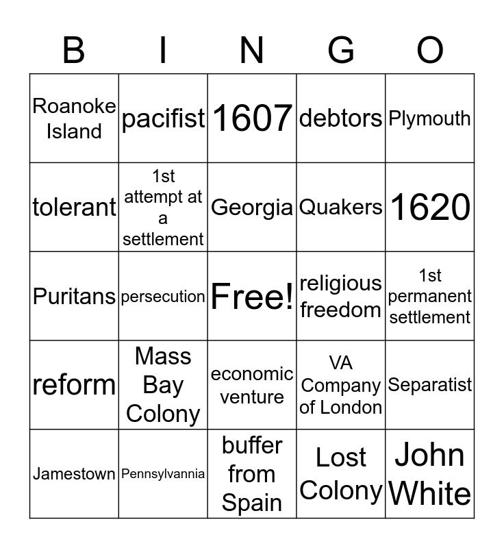 Early English Settlements Bingo Card