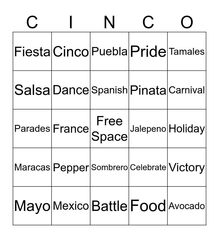 Cinco Dias de Gracias Bingo Card