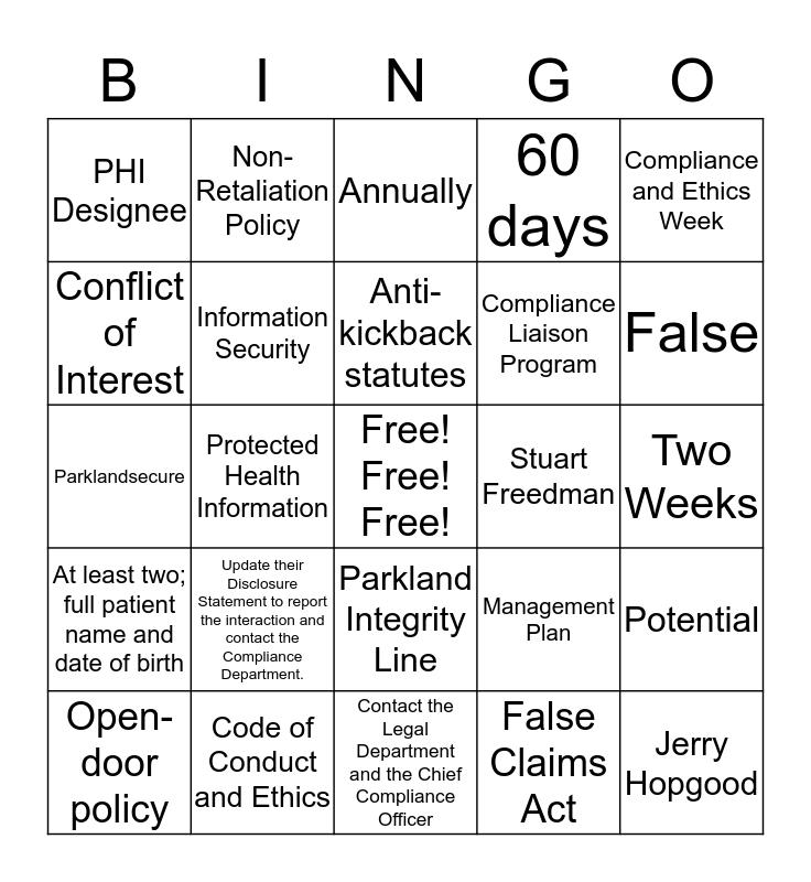 COMPLIANCE AND ETHICS Bingo Card