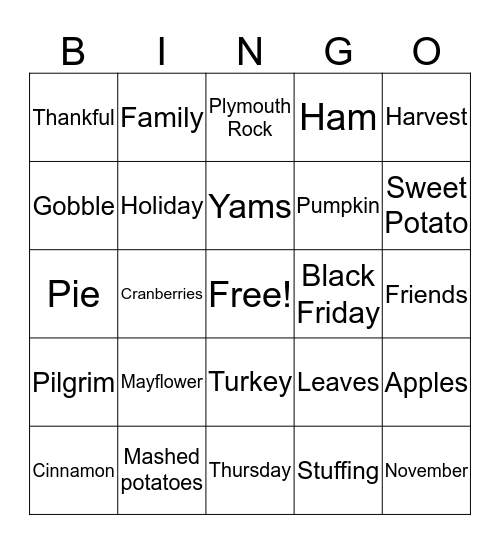 THANKSGIVING! Bingo Card