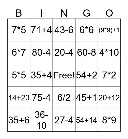 Matematik Bingo Card