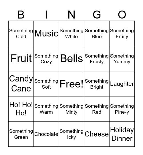 Sensory Bingo Card