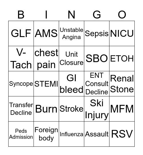 Transfer Center Bingo Card
