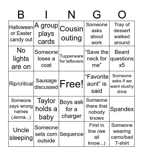 Thanksgiving 2019 Bingo Card