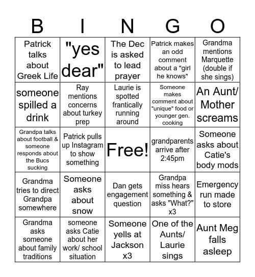 THANKSGIVING BINGOOOOOO 2019 Bingo Card