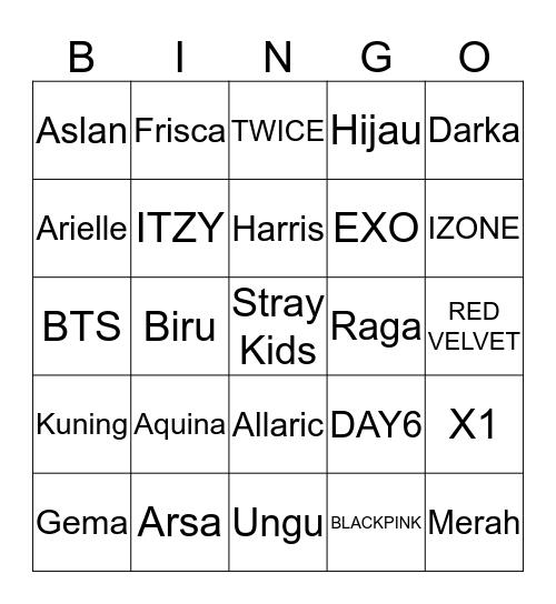 Aquina's Bingo Card