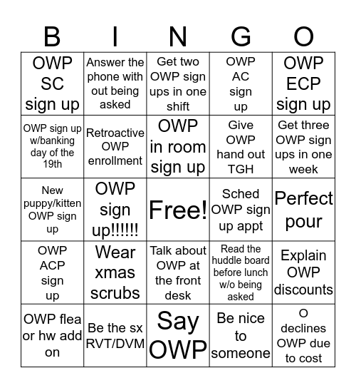 12/8/2019 Bingo Card