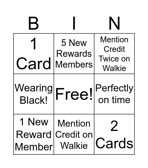 Black Friday Bingo Card