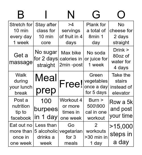 Healthy Habit Bingo Card