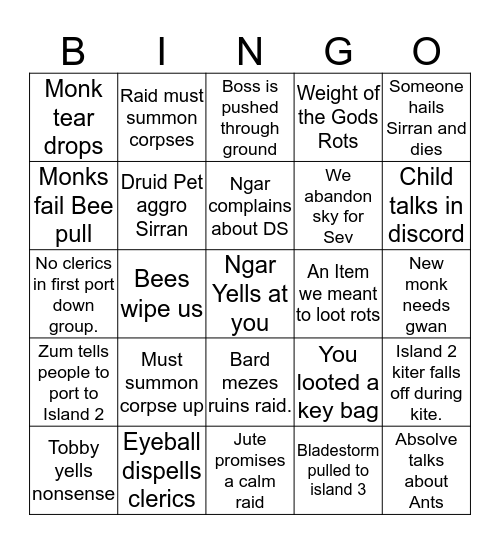 Plane of Sky Bingo Card