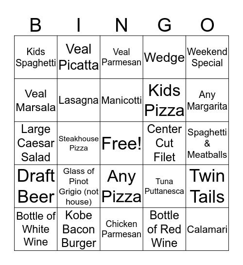 Lupo's Bingo 11/29 Bingo Card