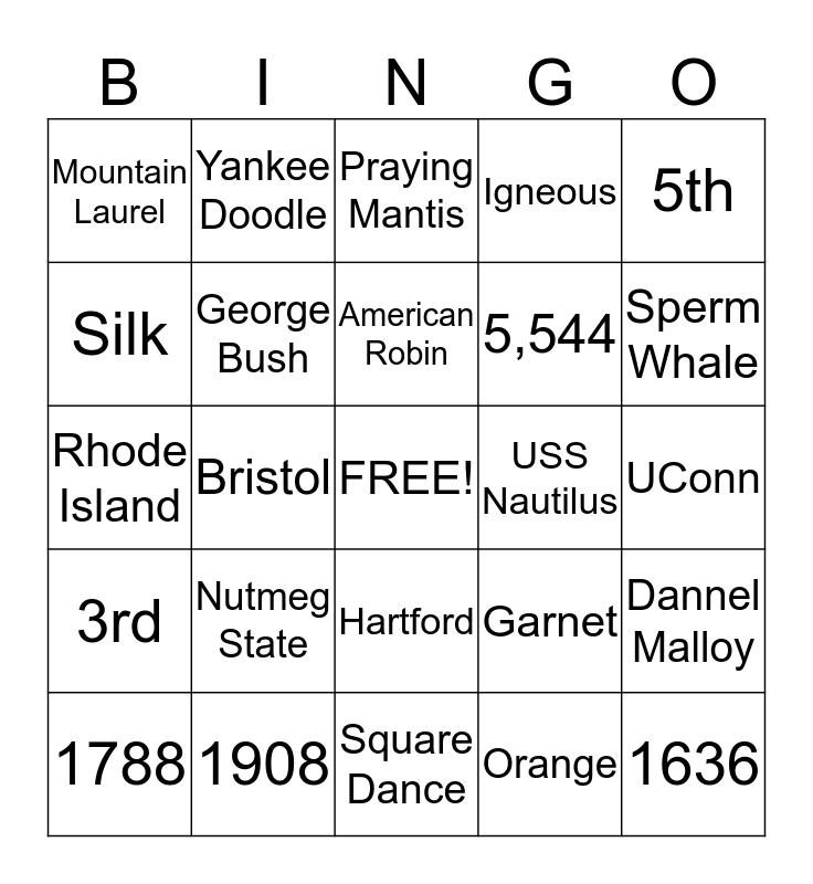 Connecticut Bingo Card