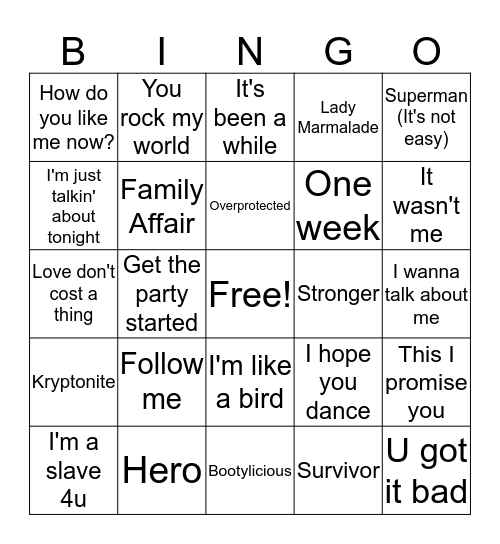 2001 Hits! Bingo Card