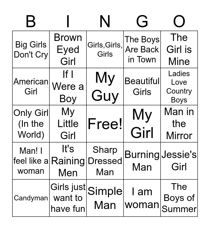 Girls vs. Boys Bingo Card